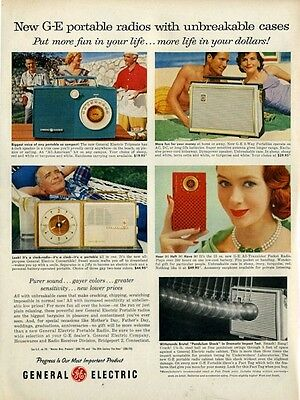 1956 General Electric GE Portable Transistor Radio Four Models PRINT AD