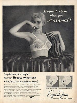 1955 Exquisite Form PRINT AD Gives you x*appeal HI-Low Witchery Bra Women under