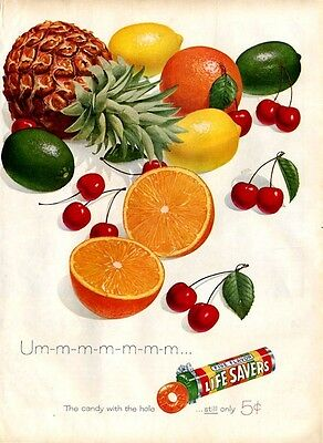 1957 Lifesavers Colorful Fruit  Great Decoration PRINT AD