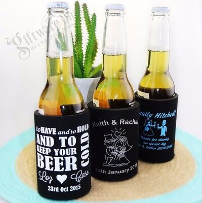 50 x Printed Stubby Holder Stubbie Cooler Wedding Bomboniere Favour Custom Can