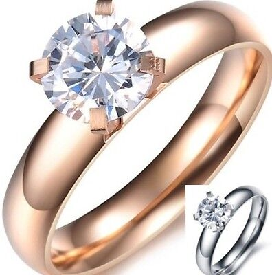 Size 5 6 7 8 Ring Silver Rose Gold Solitaire Engagement Wedding Stainless Steel