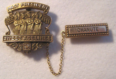 Vintage 10K GF Sweet ADELINES Past President CHANUTE 2 Piece Chained Pin