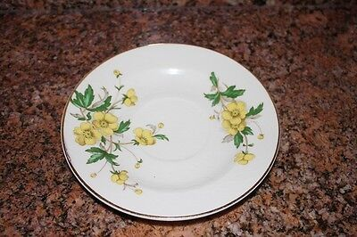 VTG EDWIN M. KNOWLES MADE IN USA SEMI-VITREOUS CUP & SAUCER SET Yellow Floral