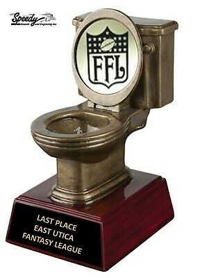 Last Place Fantasy Football Toilet Loser Trophy - ENGRAVED FREE