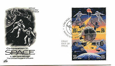 2631-34 Space Co-operation, ArtCraft, block of 4, FDC
