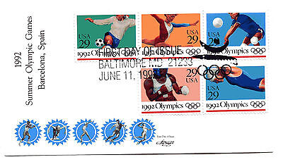 2637-41  1992 Summer Olympic Games on one Artmaster, FDC