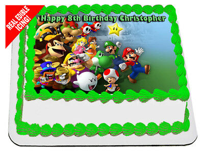 Super Mario Bros Edible Icing Image Cake Topper Personalised Party Decoration