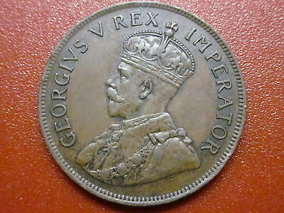 "South Africa 1 Penny 1924 George V  ""scarce"" 8 Pearls"" Top Grade (Vec)"