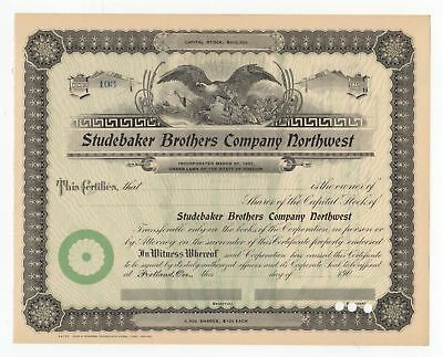 Studebaker Brothers Company, Northwest Stock Certificate