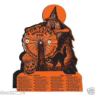 HALLOWEEN Decoration WITCH FORTUNE WHEEL GAME Vintage Beistle 1927 Reproduction