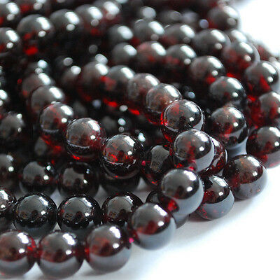 "16"" Genuine Semi Precious Gemstone Garnet Round Beads 4mm - 12mm Grade A+"