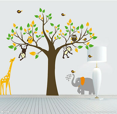 Monkey elephant owl giraffe tree Quote Wall Stickers Vinyl Decor Kids Nursery AU