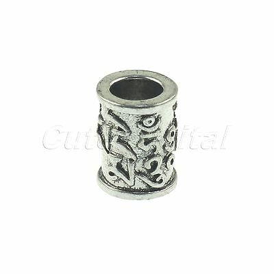 Pro Silver Metal Tube Column Carved Pendant Bead for Paracord Knife Lanyard