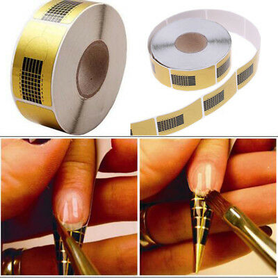 500 Golden Nail Art Tips Extension Forms Guide French DIY Tool Acrylic UV Gel LW