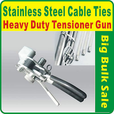 Stainless Steel Cable Ties Heavy Duty Tensioner Gun Tools