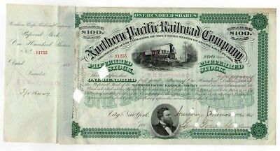 1882 E.H. Harriman signed Northern Pacific Railroad Company Stock Certificate