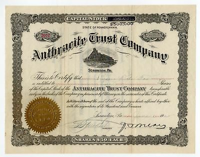1925 Anthracite Trust Company Stock Certificate