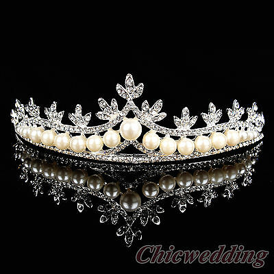 Graceful Pearl and Rhinestone Wedding Crown Maple Leaf Inspired Bridal Tiara
