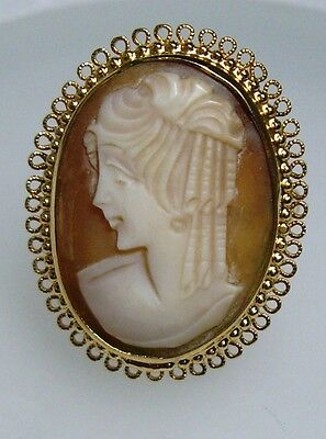 LARGE 1960's~VENDOME Carved Shell CAMEO GOLDTONE ADJUSTABLE RING - pat 2961855
