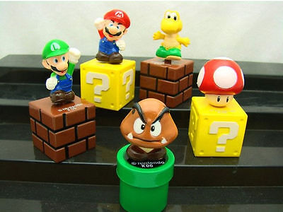 New Cute Mini Figures 5PCS/Lot Super Mario Bros Figurine Toy Doll