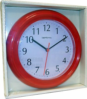 Wycombe Wall Clock Kitchen Bathroom Bedroom Office - Red