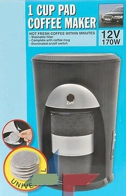 Cafetiere 12V Voyage Voiture Auto 1 Tasse Dosette Cafe Universelle 170W Neuf 72