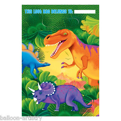 8 Prehistoric Dino Dinosaur Party Gift Favour Plastic Loot Bags