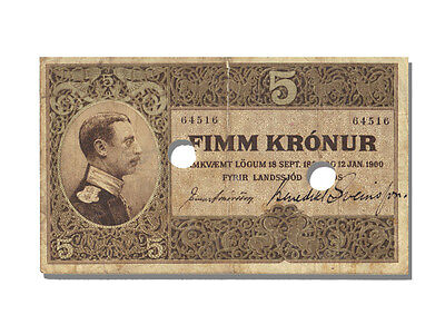 Banknoten Iceland, 5 Kronur Type January 12th 1900 Christian X