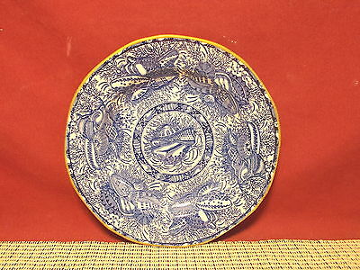 Mottahedeh China Torquay Blue Gold Trim Bread Plate New