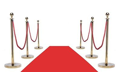 Vip Red Carpet Combo Special (6-Gold Posts + 4-Ropes + 1-3'x10' Red Carpet)