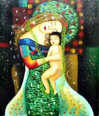 "mother and child-hand painted oil on canvas 20""x 24"" no frame"