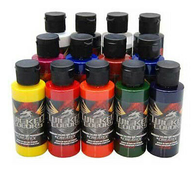 12 Createx Wicked Colors Detail Airbrush Paint Kit - Hobby, Craft, Art Painting
