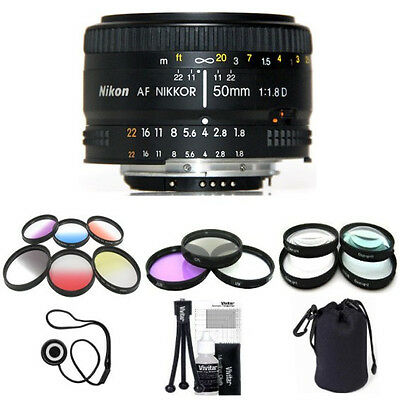 Nikon 50mm F/1.8 D AF Lens (Import) w/ 9 Piece Filter Kit & Macro Close Up Set