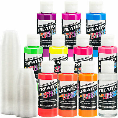10 Createx Fluorescent Colors Airbrush Paint Set - Craft, Hobby, Art