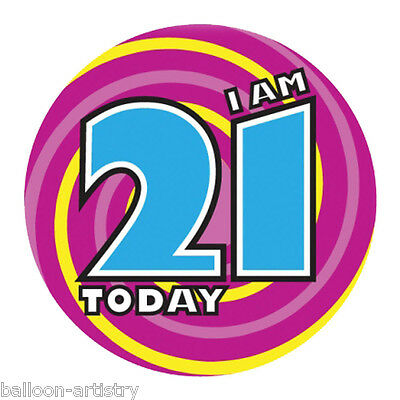 15cm Giant Purple I Am 21 Today 21st Birthday Gift Party Badge