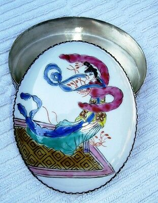 """Oval Chinese Silver & Figural Female Porcelain Lidded Domed Box 4.5"""""""