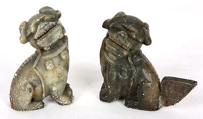ANTIQUE CHINESE QING DYNASTY OLD HAND CARVED SOAPSTONE FOO DOGS LIONS PAIR AS-IS