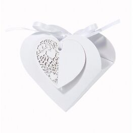 10 Beautiful Wedding White Heart Favour Boxes Gift Box From Talking Tables