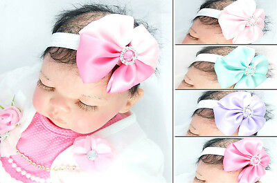 Baby Headband Hairband Pink Coral Purple Bow Sparkly Buckle Age 0 - 3 Years