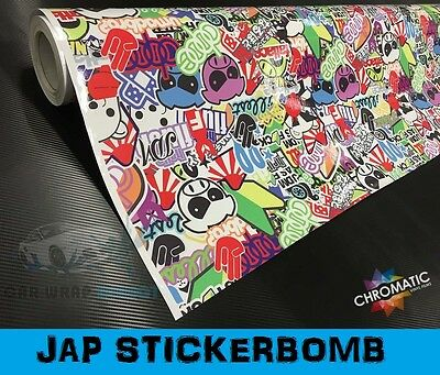 Sticker Bomb Jap Wrap 152 x 30cm - Bubble Free Vinyl Car & Bike Wrapping Film