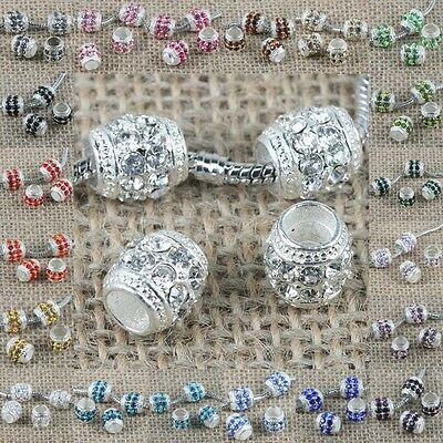 Fashion Multi-color Crystal big hole European loose bead in silver color to Pick