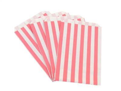 "100 5"" x 7"" Red Candy Stripe Paper Sweet Buffet Gift Shop Kraft Party Food Bags"