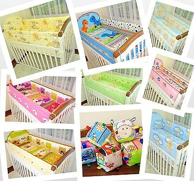 5 Piece Baby Bedding Set NurseryCot/ Long All Round Padded Bumper/ MANY DESIGN