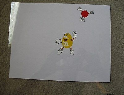 RARE Original M&Ms Film Cell Drawing of Red and Yellow M&M #2