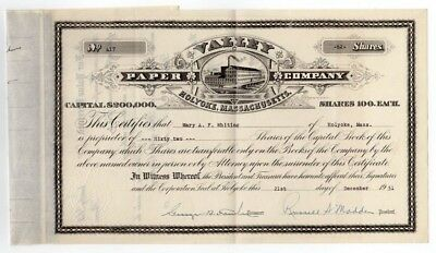Valley Paper Co-Holyoke, MA Stock Certificate-Issued