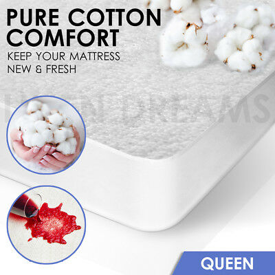 Fully Fitted Terry Cotton Waterproof Mattress Protector Cover --QUEEN