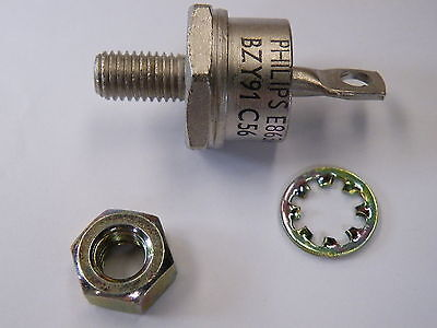BZY91C56V Philips Zener Diode 75W DO5 Inc Fixing Nut & Washer EG29