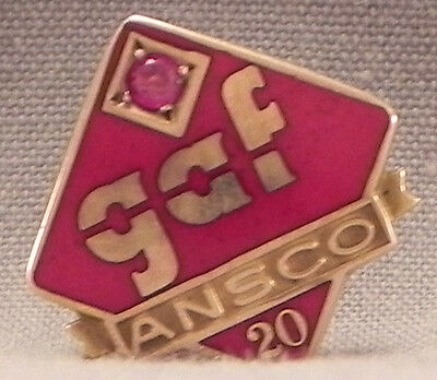 GAF Ansco 20 Year Service Pin 10k Gold with Red Stone 1.5dwt / 2.3g