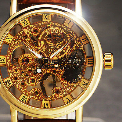 GORGEOUS Ultra-thin Golden Hollow Carve Dial Luxury Men Watch Mechanical Relogio