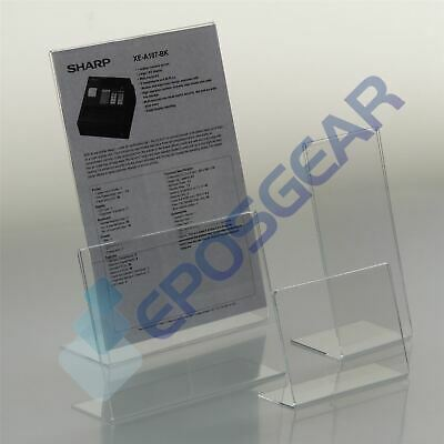 Angled Perspex Acrylic Lean Back To Counter Menu Poster Holder Display Stands